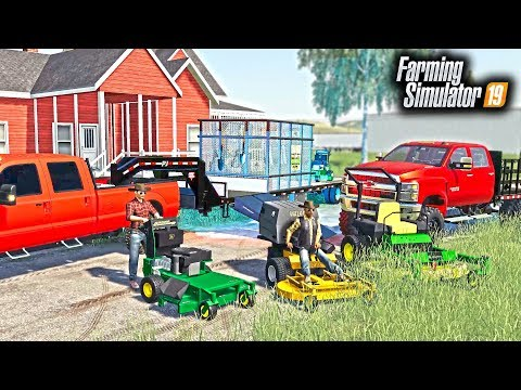 STARTING A MOWING COMPANY! ME & TWO EMPLOYEES MOWING CUSTOMER'S LAWNS | FARMING SIMULATOR 2019