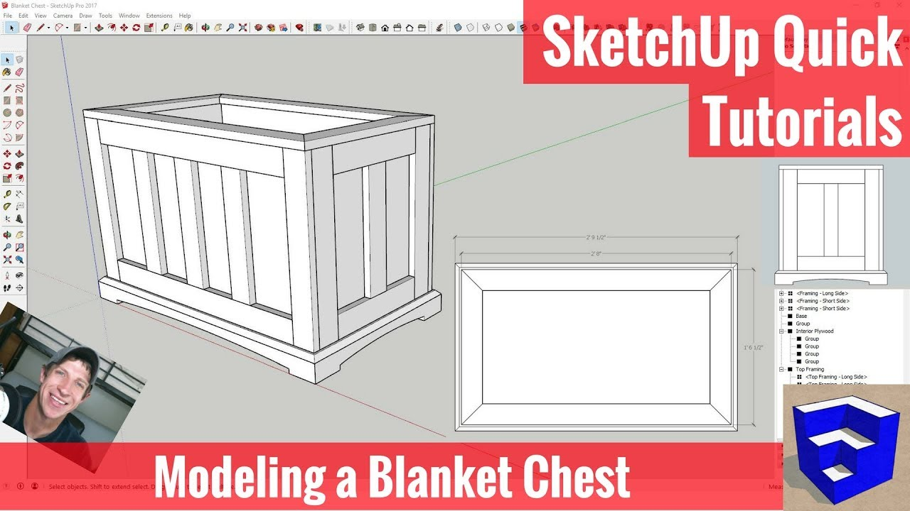 Modeling a Blanket Chest Step by Step in SketchUp