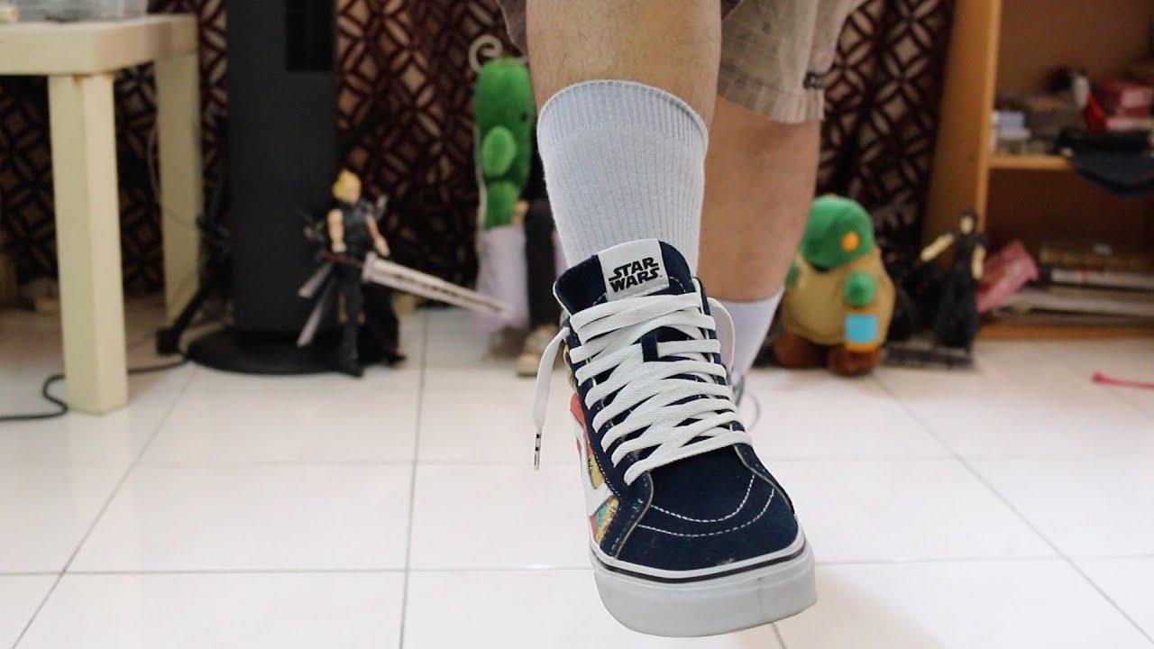 b659b83505 Vans Sk8 Hi Star Wars Yoda Aloha On Feet - YouTube