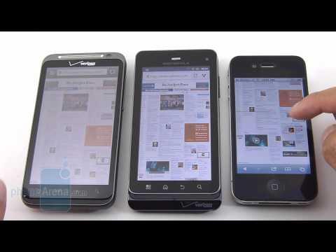 Motorola DROID 3 vs HTC ThunderBolt vs Apple iPhone 4 web browsing comparison
