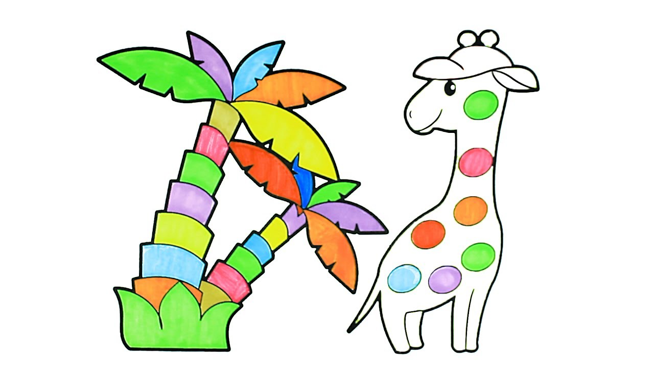 how to draw cartoon rainbow giraffe coloring pages kids song drawing coloring giraffe for kids