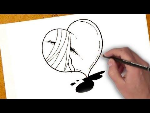 como desenhar um coração partido | como desenhar um coração partido passo a passo