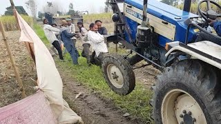 Swaraj 744 Stuck in Mud With Load | 10 People Pulling Swaraj 744 Tractor