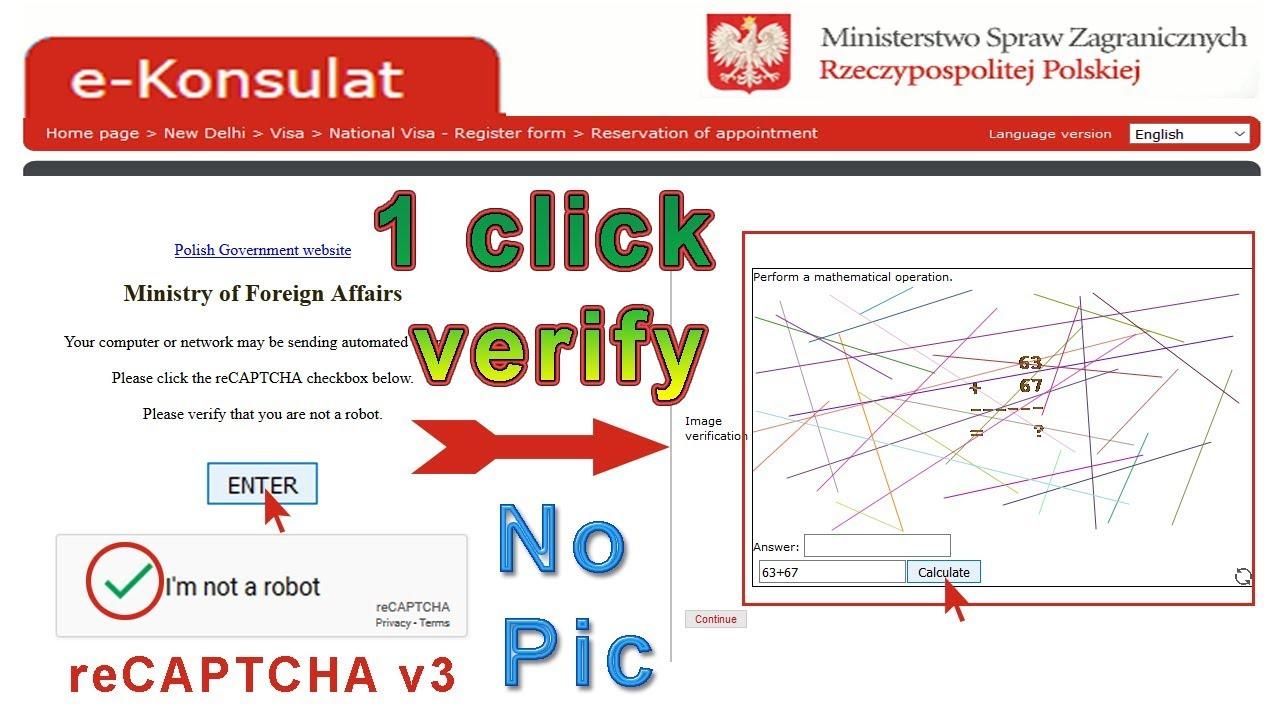 e-Konsulat 😎 google reCAPTCHA v3, i am not a robot -1 click