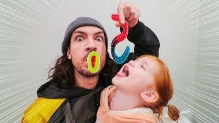 GUMMY FOOD vs REAL FOOD!! Adley Vs Dad