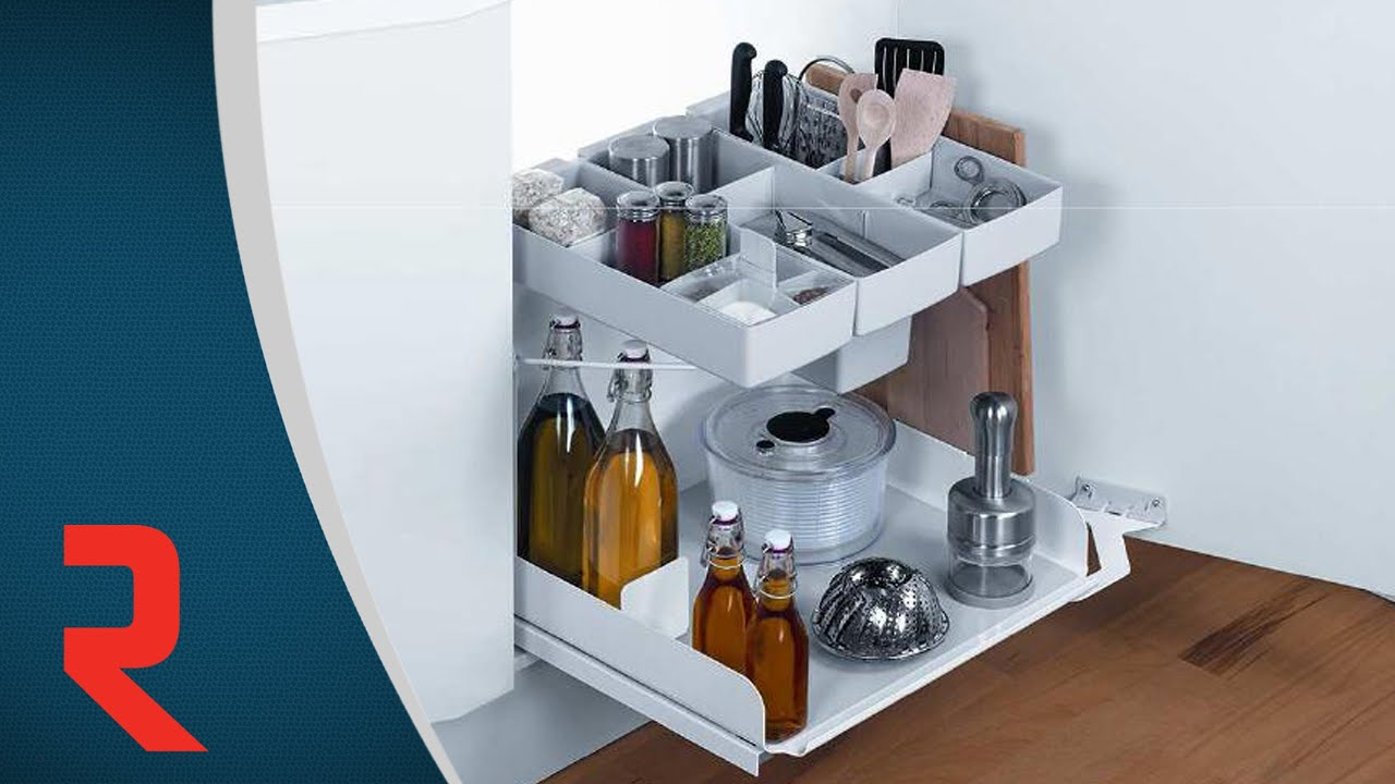 Pull-out storage system for base cabinet KITO - YouTube