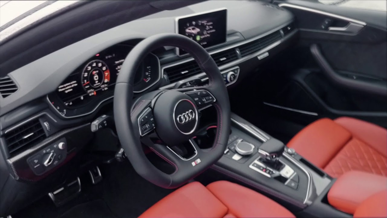 audi s5 sportback 2018 white exterior with magma red interior youtube. Black Bedroom Furniture Sets. Home Design Ideas