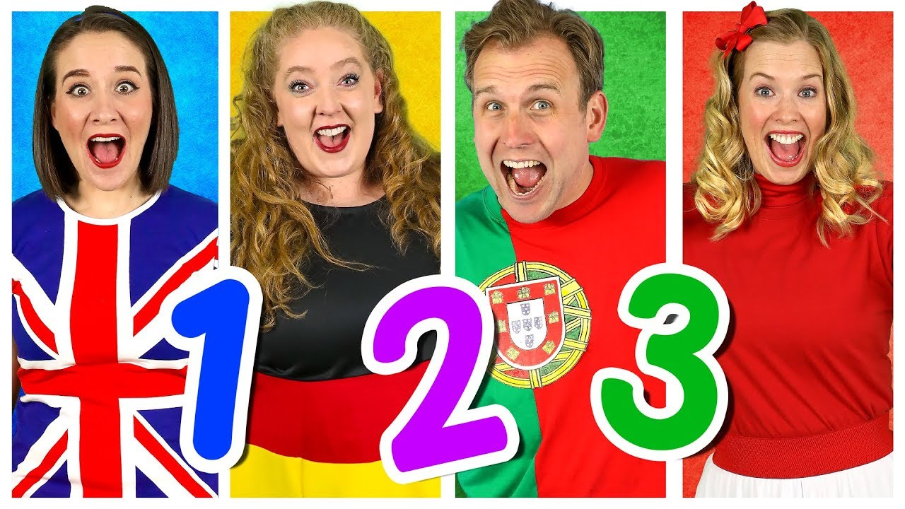 Counting to 10 in Four MORE Languages! Kids Learn to Count - Numbers Song