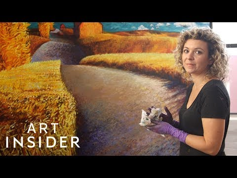 Professional Oil Finger Painter Makes Landscapes, Portraits