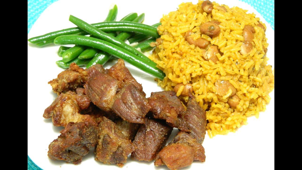 how to make puerto rican carne frita with arroz con habichuelas rh youtube com