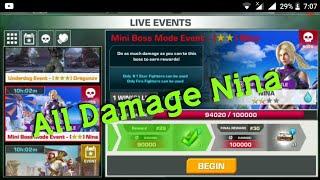 Mini Boss Mode Event (**) Nina All Damage Tekken mobile
