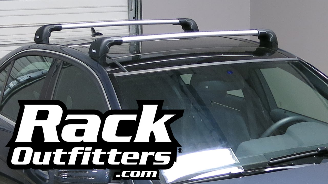 Mercedes Benz E Class Sedan Thule SILVER AeroBlade EDGE Roof Rack U002710 U002715*  By Rack Outfitters   YouTube
