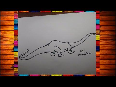 Ekt Karakalem Nesli Tukenmis Hayvanlar Cizimi Diplodocus