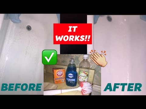 HOW I CLEAN MY BATHTUB | DAWN, BAKING SODA + VINEGAR | DOES IT WORK?