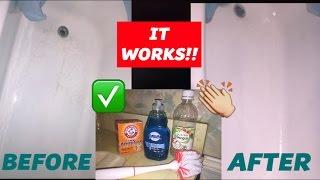 HOW I CLEAN MY BATHTUB | DAWN, BAKING SODA + VINEGAR | DOES IT WORK?