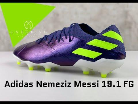 Adidas Nemeziz Messi 19.1 FG 'Tech Indigo/Sig Green/Glory Pur   UNBOXING & ON FEET   Football Boots