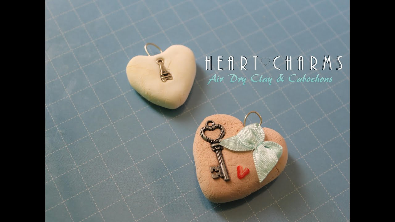 Simple heart pendants air dry clay cabochons youtube audiocablefo