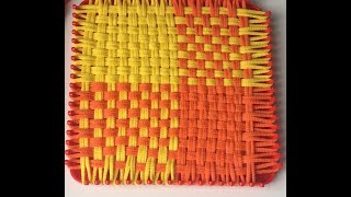 Loop and Loom Square Weave Yellow and Orange mat