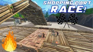 [EPIC] SHOPPING CART RACE IN WHAT USED TO BE TILTED! (Fortnite)