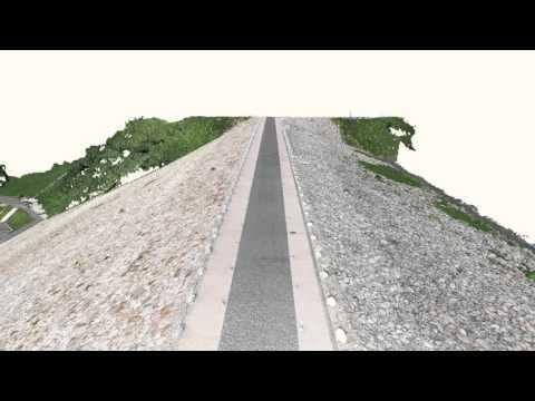 【UAV空撮】殿ダム3D点群動画(道路上空)