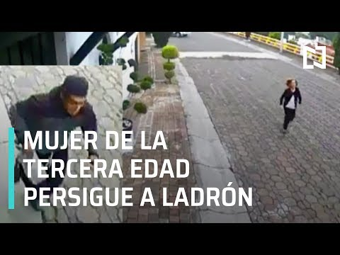 Mujer de la tercera edad persigue a ladrón que le robó su bolsa - Por Las Mañanas