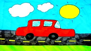 How To Draw A Car | Kids Coloring Video