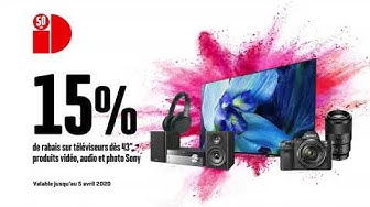 """15% de rabais sur téléviseurs dès 43"""", produits vidéo, audio et photo Sony (23.03. - 05.04.2020)"""