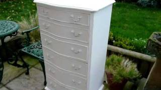 Aged White Painted Distressed Tallboy Chest Of Drawers Sold
