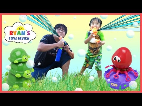 Bubbles Maker Machines Family Fun Water Gun Fight Toys For Kids Playtime Outside Ryan ToysReview