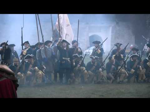 Narva Battle. The historical re-enactment of the Northern War battle of 1700.