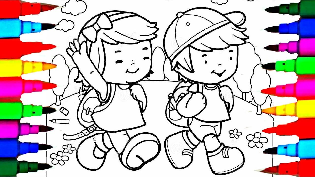 Boy And Girl Coloring Pages Boy And Girl Lets Go School Coloring ... | 720x1280