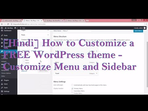 Hindi] How to Customize a FREE WordPress theme - Customize Menu and ...