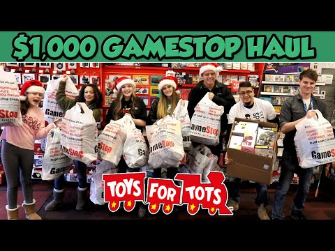 $1,000 GameStop Haul for Toys for Tots! | Shopping & Delivery Vlog
