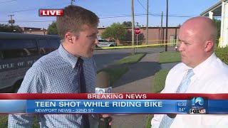Teen shot while riding bike in Newport News