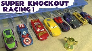 Disney Cars Toys McQueen Cars 3 Super Knockout Racing with Marvel & DC Cars and funny Funlings TT4U