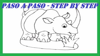 Como dibujar un Rinoceronte paso a paso l How to draw a Rhino step by step