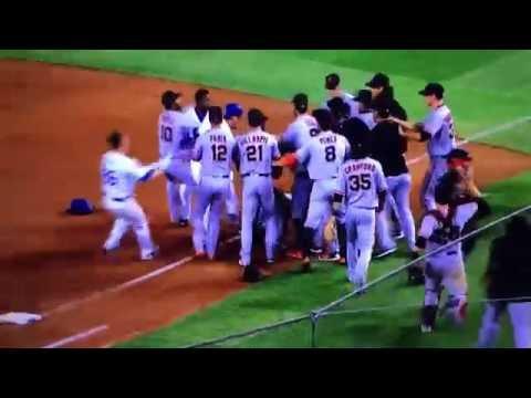 Dodgers Giants Fight Brawl Puig Vs Bumgarner 9/19/2016