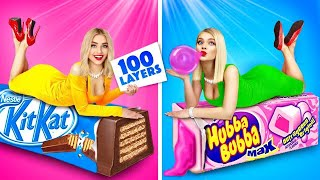 EPIC 100 LAYERS FOOD CHALLENGE! || 100 Coats Chocolate, Bubble Gum! Yummy Experiment by RATATA BOOM