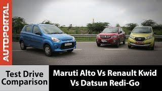 Renault Kwid VS Maruti Suzuki Alto 800 VS Datsun Redi-Go Comparison Review - Autoportal