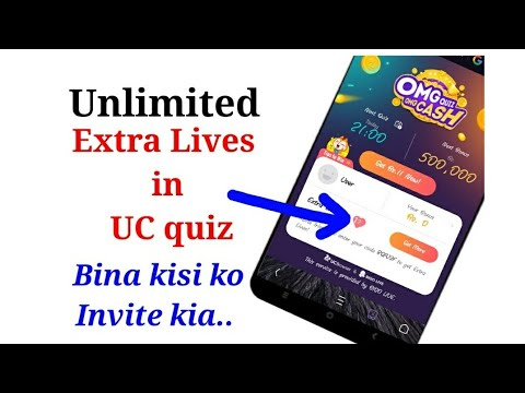 Unlimited Extra Lives in UC - Quiz &  Win Cash Price..without inviting any friend Tech Addicted