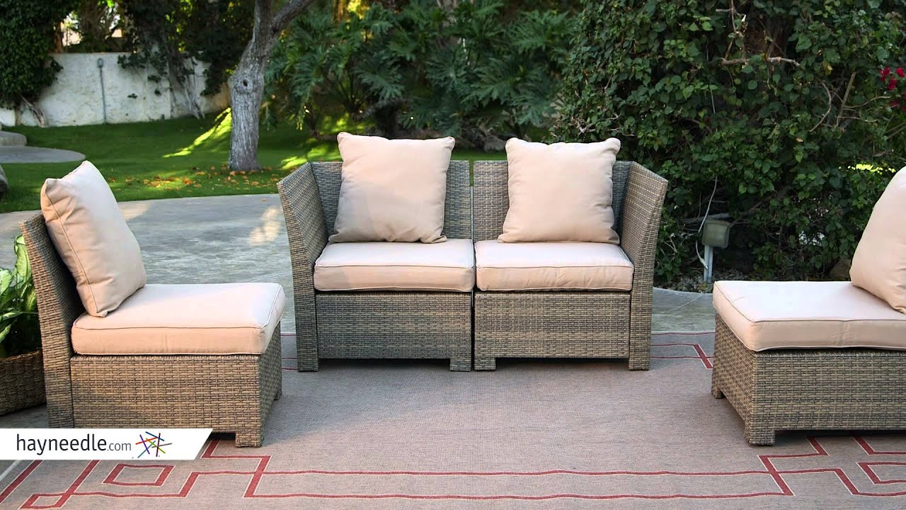 Coral Coast South Isle All Weather Wicker Natural Sectional Set   Seats 4    Product Review Video