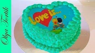 Торт Сердце из крема Торт с вафельной картинкой Сборка и украшение торта / Olya Tortik