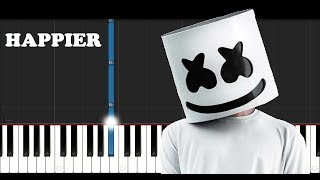 Marshmello ft Bastille - Happier (Piano Tutorial)