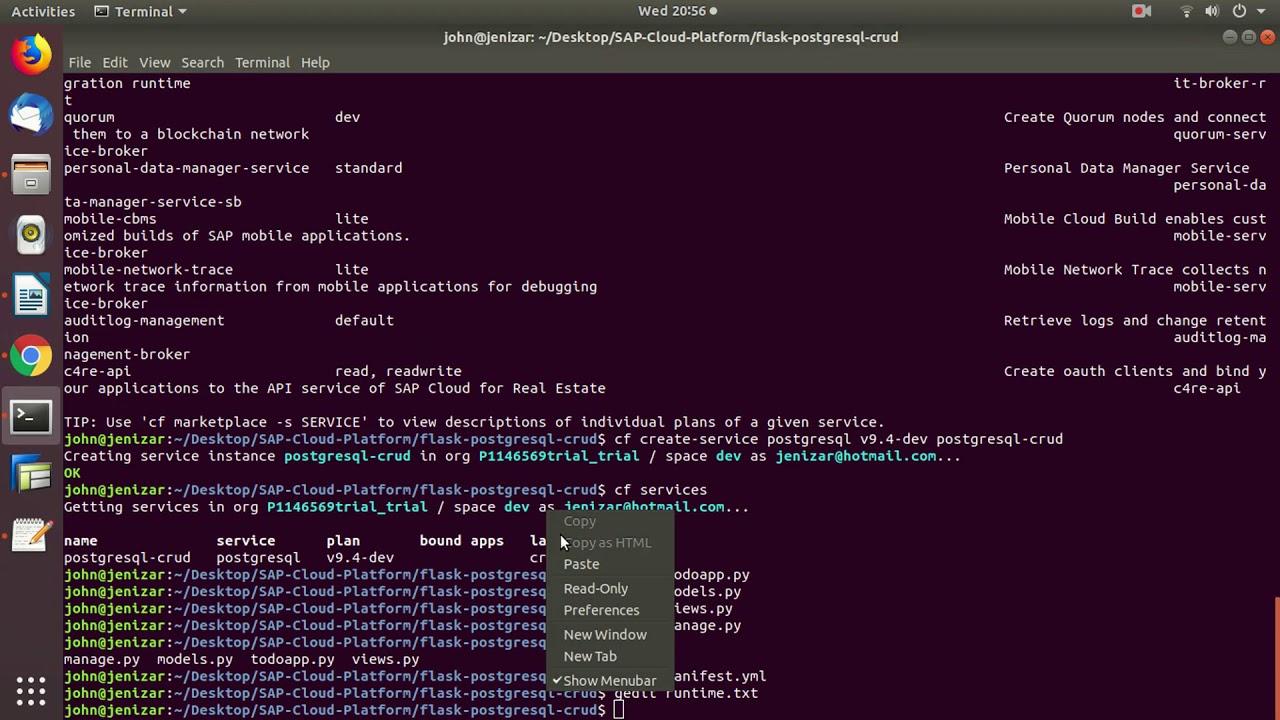Download Deploy simple CRUD website using PostgreSQL and Python-Flask on  SAP Cloud Platform