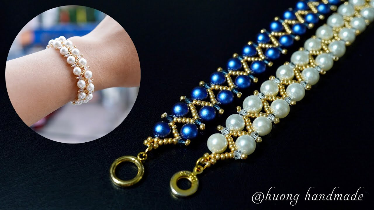 Super easy for beginners. How to make beaded bracelet. Pearl jewelry
