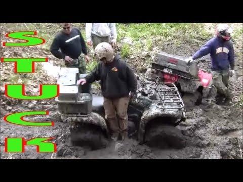 Trucks Gone Wild Michigan >> Honda ATV Jumps Mud Hole And Gets Stuck | Doovi