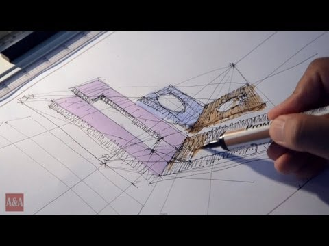 Fast Sketch Shadow Study in One-point perspective Part 3