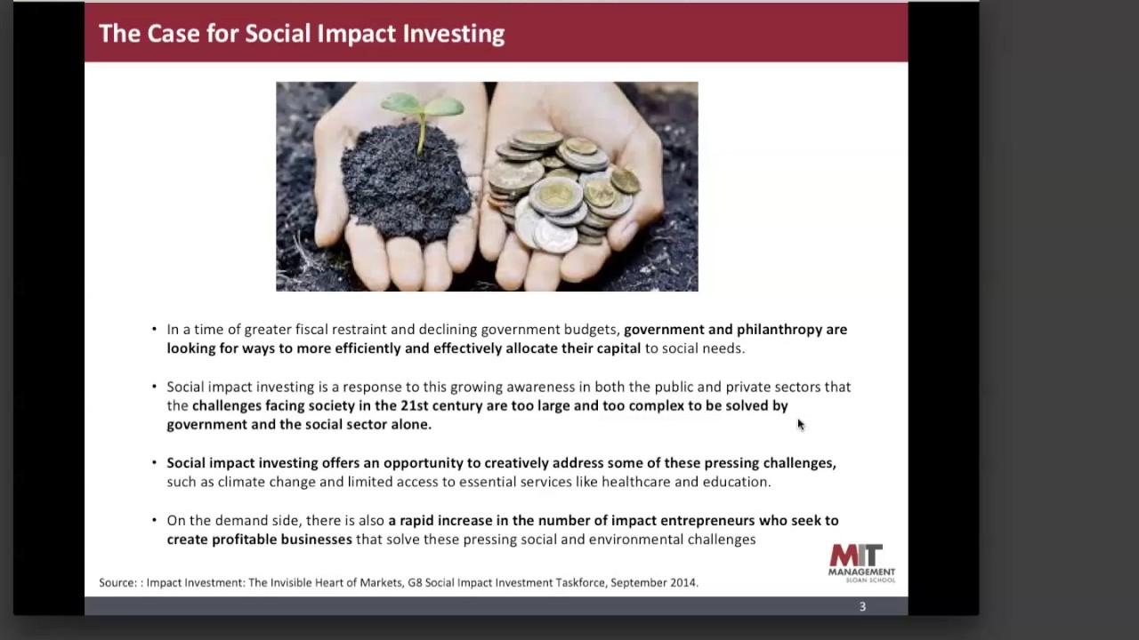 MIT Sloan School of Management -- Impact Investing Webinar