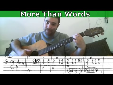 Fingerstyle Tutorial: More Than Words - Guitar Lesson w/ TAB