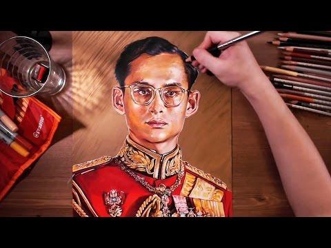 Drawing Bhumibol Adulyadej (Rama IX, the Great)   drawholic